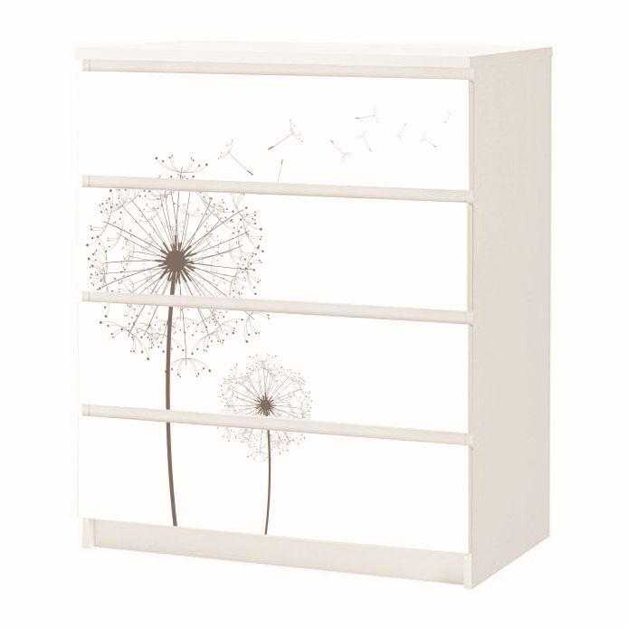 aufkleber f r ikea malm m beltattoo sticker 3 4 schubladen pusteblume 28 ebay. Black Bedroom Furniture Sets. Home Design Ideas